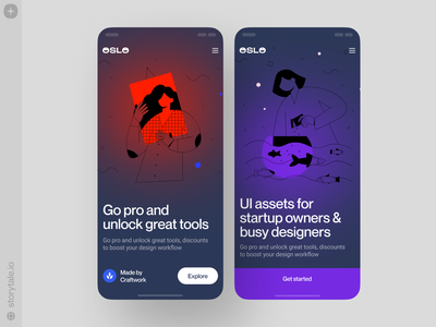 OSLO Illustrations 😍 application dark app dark theme dark bestseller oslo app design product vector ui colorful storytale illustration design