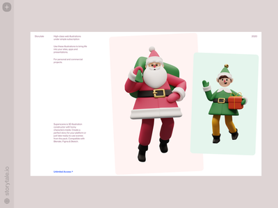 Christmas 3D Illustrations 🎄 bestseller superscene elf santa happy holidays happy new year ny christmas cool characters 3d web product ui colorful storytale illustration design