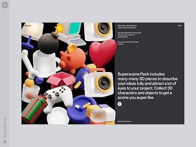 Superscene 3D Illustrations ❤️ objects superscene pack 3d web product ui colorful storytale illustration design
