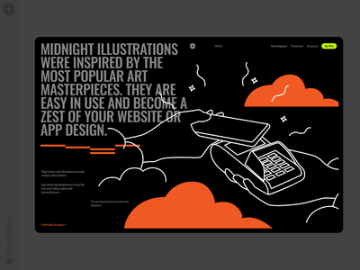 Midnight Illustrations 🖤 black midnight cake delivery dark wireless finance payment midnight contrast product web vector ui colorful storytale illustration design