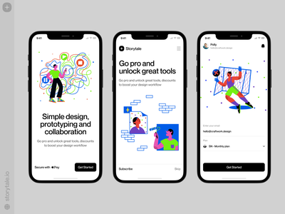 Blink illustrations for mobile app 📱 blink characters app design contrast product vector ui colorful storytale illustration design