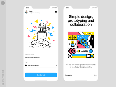 UX/UI illustrations ⚡️ bright outline uxui ui app design contrast product vector colorful storytale illustration design