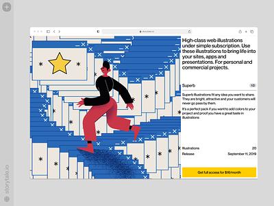 Superb illustrations ⭐️ superb characters contrast web product ui colorful storytale illustration design