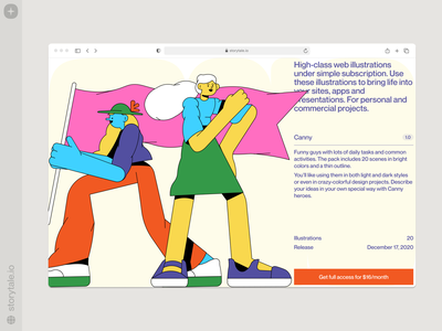 Canny illustrations 🚩 proportions caany characters contrast web vector product ui colorful storytale illustration design