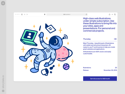 Thursday illustrations 🚀 flying sky thursday astronomical space outline vector product ui colorful storytale illustration design