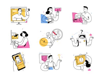 Do it illustrations ❤️ editing accents colors graphics outline vector product ui colorful storytale illustration design
