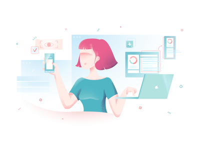 Grainy illustrations 🥰 characters workflow business startup technologies scenes textures noisy grainy branding vector product ui colorful storytale illustration design