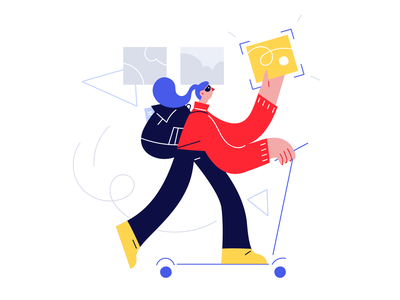 Bubble illustrations 🛴 modern flat bubble bike scooter vector product ui colorful storytale illustration design