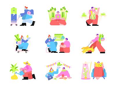 Eco Life illustrations 🌿 awwwards lifestyle ecology eco ecolife vector ui product colorful storytale illustration design