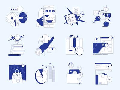 Blueshift illustrations money account bank finance shapes outline grainy blueshift vector product ui colorful storytale illustration design
