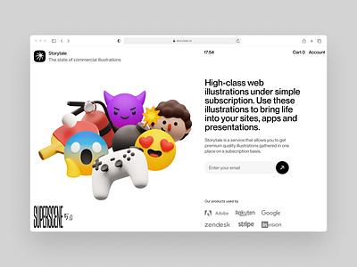 Superscene illustrations 💣 emoji things stuff objects volumetric web 3d branding product ui colorful storytale illustration design