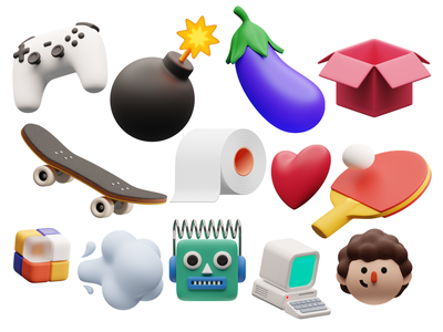 3D Objects from Superscene Constructor 🍆 constructor isometric volume smooth sweets emoji objects 3d ux branding logo product ui colorful storytale illustration design