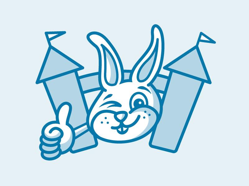 Bunny bunny illustration logo character caricature blue thumbs up rabbit animal shading shadow smile
