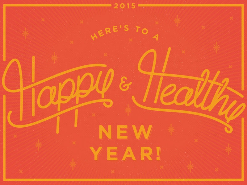 Happy New Year Dribbblers holiday winter new years nye script handletter yellow red retro card celebrate stars