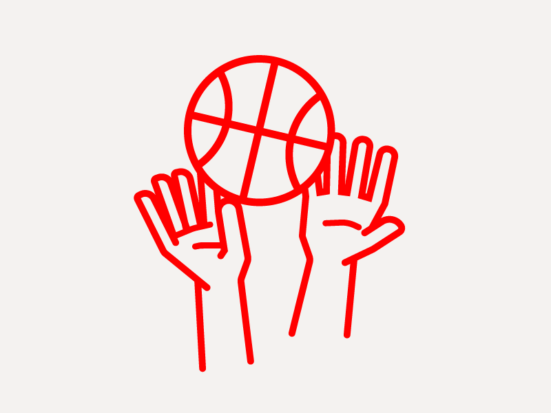 basketsport II illustrator geometric ball hands single weight line line drawing illustration basketball