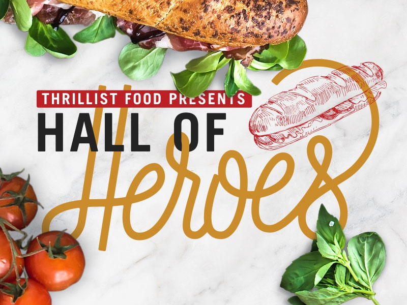 Hall of Heroes sammiches sandwiches food thrillist event cursive single weight script lettering logo