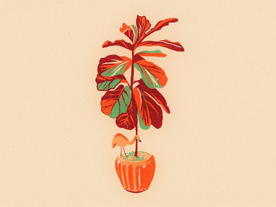 Figgy fiddle leaf fig house plant plant midcentury vintage retro ipad procreate drawing illustration