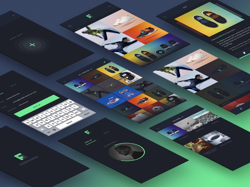 Feedview Screens photo minimal popular ui concept gallery utility app social ios