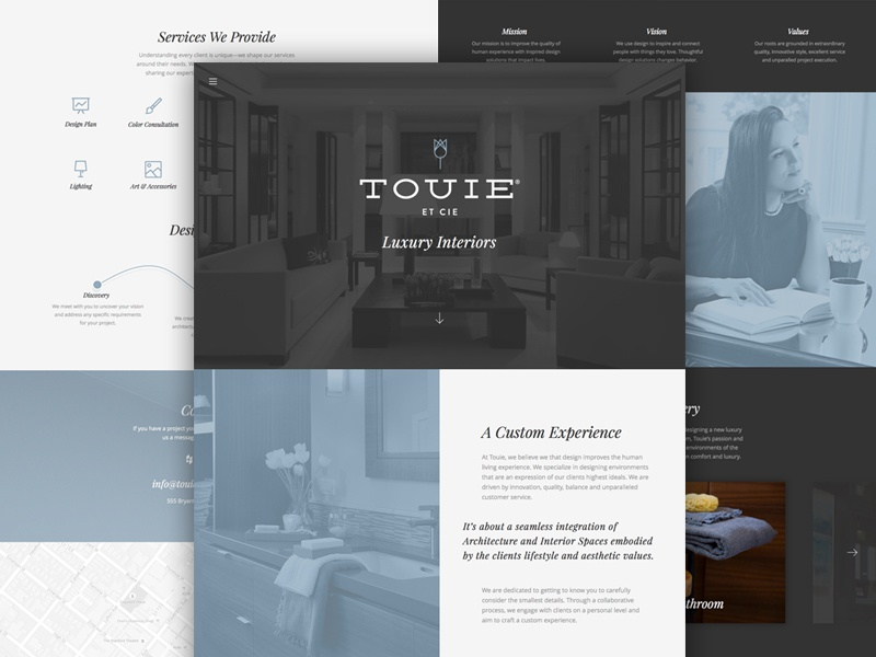 Touie Et Cie- Luxury Interiors  portfolio one page parallax mobile web design responsive