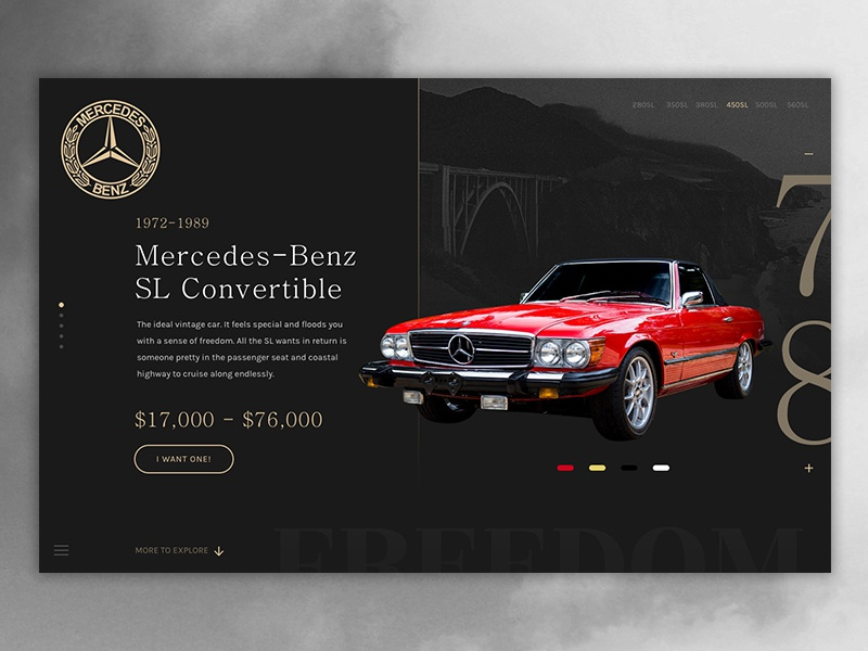 Mercedes-Benz SL Landing retro showcase onepage homepage product-design concept