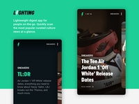 Digest News App popular minimal design ios pop culture sneakers sketch concept app ui news mobile