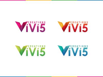 logo for vivi5 creations logo colorful vivify startup branding