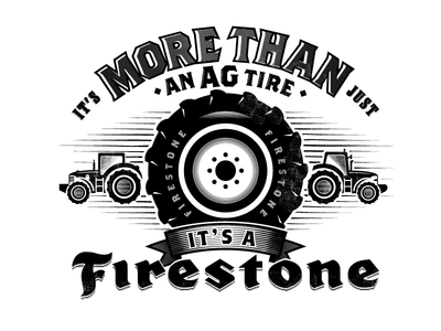More Than An AG Tire agricultural agriculture manufacturing manufacture linocut vintage retro firestone tractors tractor tires tire
