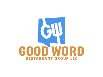 Good Word fork spoon w g box talk blue orange word good restaurant
