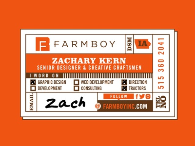 Farmboy Business Card Concept branding identity letterpress manufacturing manufacture factory des moines iowa farm card business card