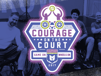 Courage on the Court badge chair game ball sports adaptive wheelchair basketball court courage