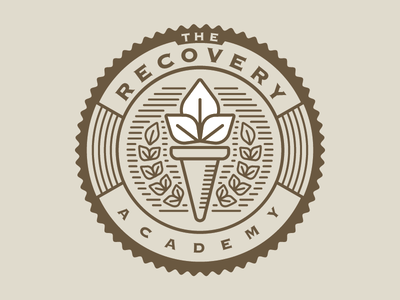 The Recovery Academy rehab alcohol abuse substance addiction academy school leaves leaf torch badge recovery