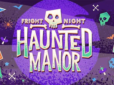 The Haunted Manor branding skeleton skull and crossbones bats skull vector illustration vector disney illustration halloween design halloween party halloween bash halloween
