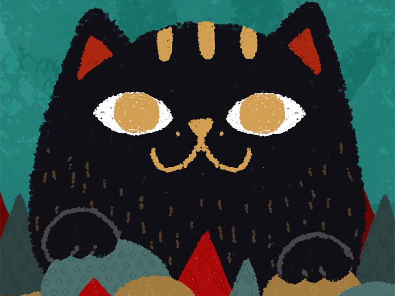 「Big meow」 catart meow forest art drawing 2dart cat illustration
