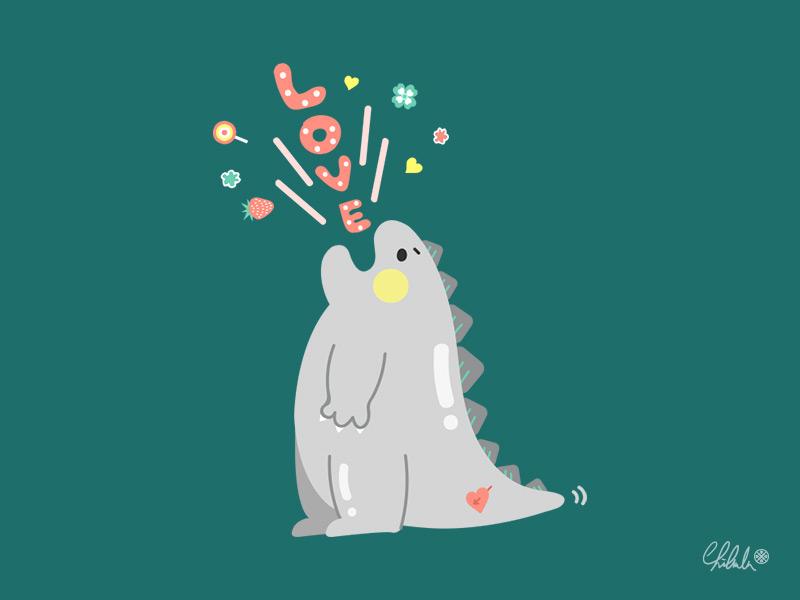 「Hi, Godzilla」 2dart dessert 哥吉拉 ゴジラ 怪獣 kaiju monster godzilla art cute drawing vector illustration