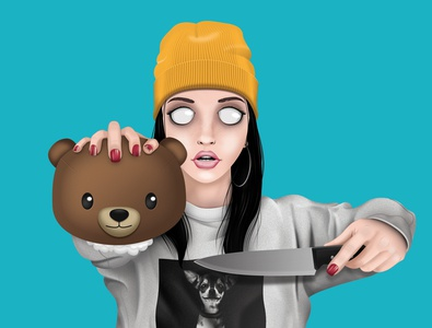 Cute but psycho girl girl character character digital painting photoshop illustration