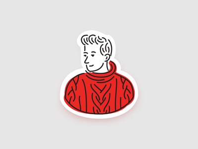 Red Pullover illustration lines pullover red sweater dude face sticker man