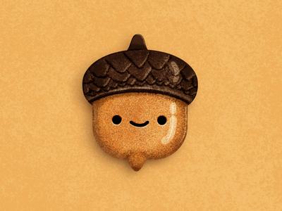 Cute little acorn kids playful wacom intuos illustrator photoshop character cartoon food cute mascot illustration nuts chocolat design art acorn