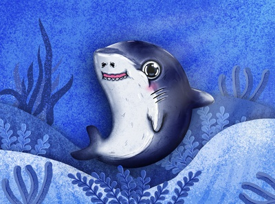 Deadly cute . cute cartoon cute art mascot funny smile blushing ocean water cute animal character drawing cute illustration baby shark baby purple blue seaworld sea shark cute