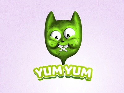 Yum Yum Logo creature monster delivery yummy kids playful sweet alien branding green cute character candy lolipop delicious mascot character mascot logo design illustration