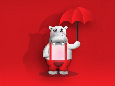 Bob the Hippo smiling red outfit little fat vector illustration inspire design charachter design school kids playful umbrella red cute animal cute mascot character hippo 3d