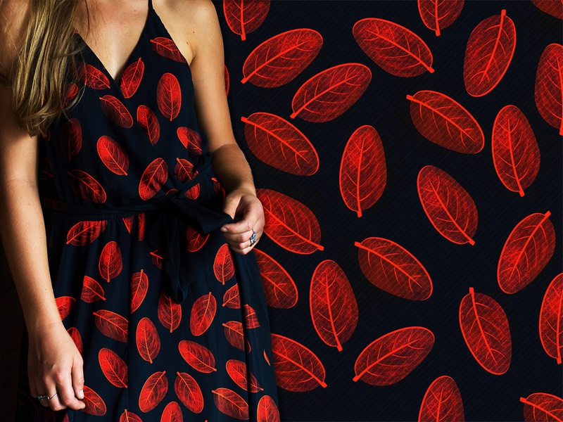 Red leafs Textile pattern automn spring summer women graphic botanical leaves fashion print nature colors art fabric textile red leaf pattern design apparel illustration