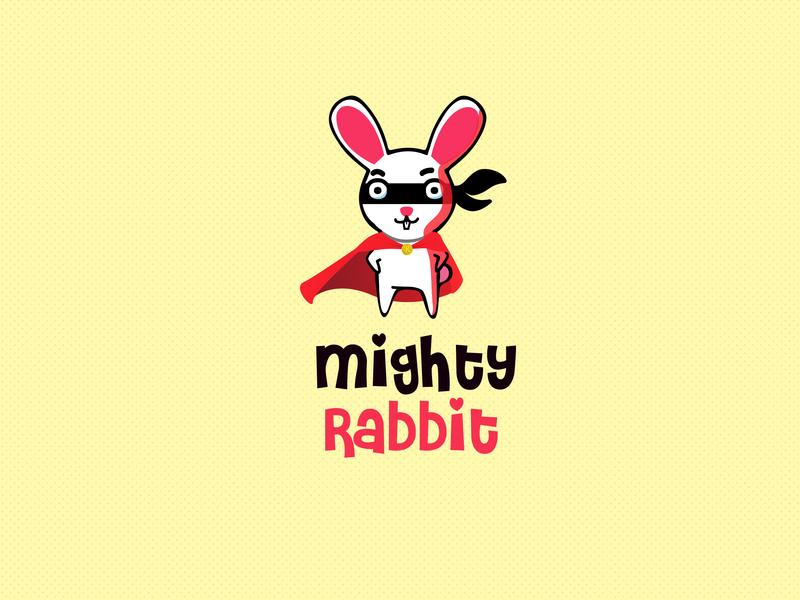 Mighty Rabbit superhero rabbit kids hero logo illustration
