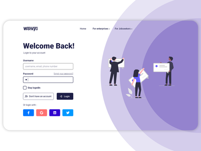 login page for Workyu login landing ux website website design web design webdesign ui design xd