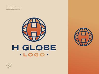 Letter H & Globe Logo initial letter logos simple modern minimalist creative business company brand branding design modern logo logodesign