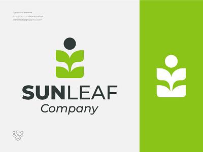 Sun Leaf Logo Design art