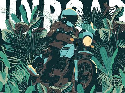 Riding through the jungle t shirt art vector flat illustration design motorcycle moto illustration graphicdesign