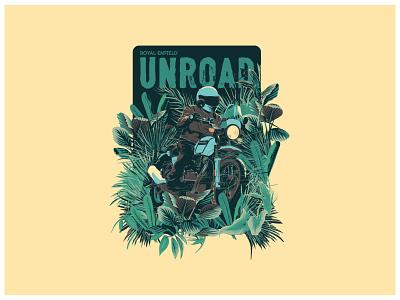 Riding through the jungle flat illustration vector t shirt art graphicdesign illustration motorcycle moto