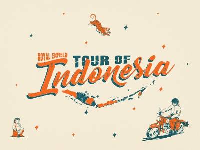 Tour of Indonesia typography flat illustration vector t shirt art motorcycle moto design illustration graphicdesign