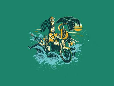 Sun surf ride rock motorcycle moto design vector t shirt art illustration graphicdesign