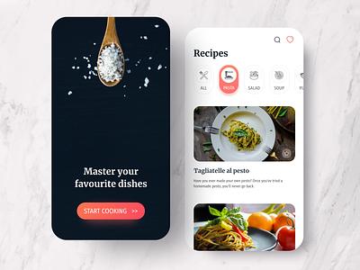Food App recipes food app figma mobile ui